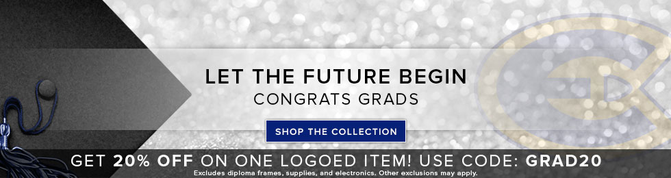 Sparkling background with graduation cap and school logo. Let the future begin. Congrats Grads. Get 20% off on one logoed item! Use code: GRAD20. Excludes diploma frames, supplies, and electronics. Other exclusions may apply. Click to shop the Collection.